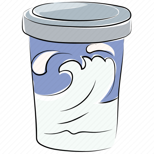 disposable cup, juice cup, milk, paper cup, shake cup, yogurt cup icon