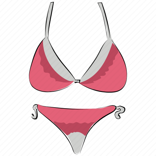 bikini, ladies undergarments, lingerie, swimming clothes, swimsuit, undergarments icon