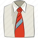 clothes, clothing, dress shirt, garments, necktie, shirt, tie icon