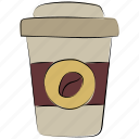 coffee, coffee cup, coffee paper cup, cold coffee, takeaway coffee icon
