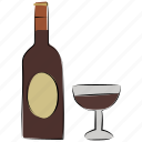 alcohol, bottle, drink, glass, wine bottle, wineglass icon