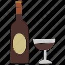 alcohol, bottle, drink, glass, wine bottle, wineglass icon