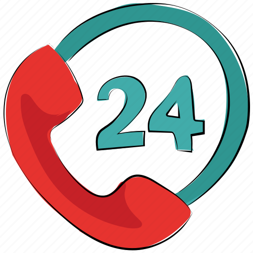 call service, customer service, helpline, phone, receiver, twenty four hours service icon