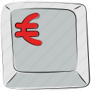 computer button, euro, euro button, euro sign, euro symbol, keyboard button, mac button icon