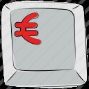 computer button, euro, euro button, euro sign, euro symbol, keyboard button, mac button icon
