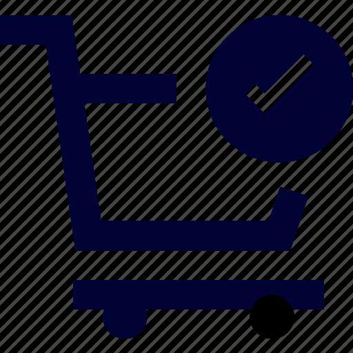 cart, check, ecommerce, pushcart, shop, shopping, success cart icon