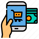 shopping, online, smartphone, payment, money, hand