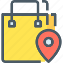 shop, map, shopping, commerce, track, bag, location icon