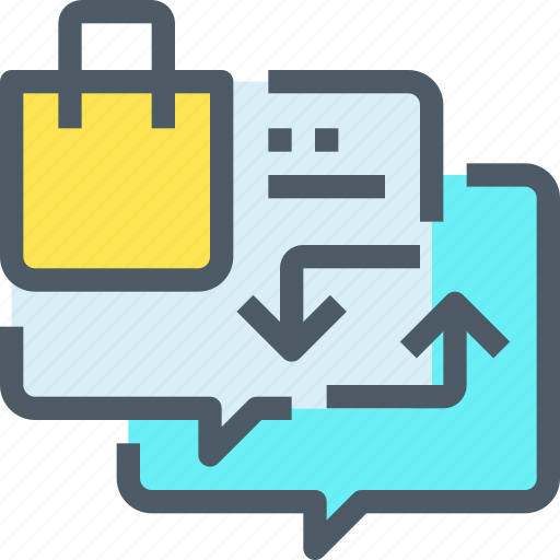 arrow, communication, exchange, shop, shopping, speech bubble icon