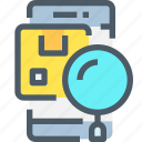 product, research, search, shop, shopping, smartphone icon