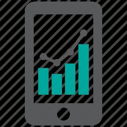 mobile, report, statistics icon