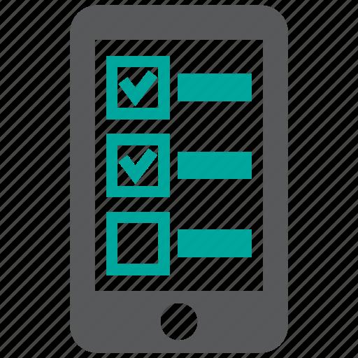 checklist, list, mobile, survey icon