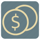 coins, currency, dollar, shopping, supermarket icon