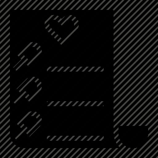 bill, heart, receipt, wishlist icon