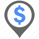 bank, dollar, find, location, map, money, shopping icon
