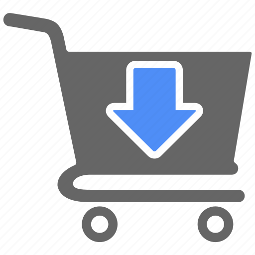 cart, down, ecommerce, online, shop, shopping icon