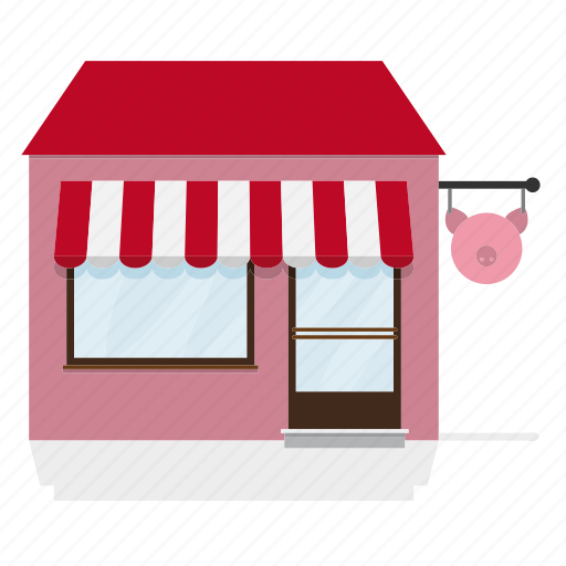 awning, building, butcher, house, meat, shop, store icon