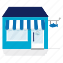 awning, building, fish, house, merchant, shop, store icon