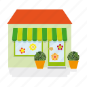 awning, building, flower, gardener, house, shop, store icon