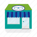 awning, building, glasses, house, optician, shop, store icon