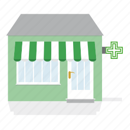 awning, building, drug store, pharmacy, shop, store icon