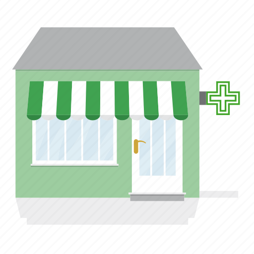 Awning, building, drug store, pharmacy, shop, store icon ...