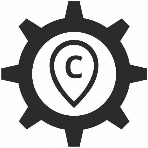 c, gear, letter, point, pointer icon