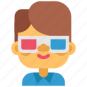 3 d, cinema, film, glasses, movie, movies, show icon