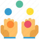 circus, clown, focus, gesture, hand, juggler, show icon
