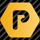 hexagon, lot, park, parking, sign