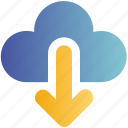 arrow, cloud, data, down, download, sign