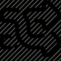 exchange, flip, fork, random, shuffle, upside down icon