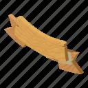 isometric, logo, object, post, ribbon, signpost, wooden