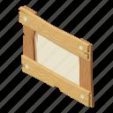 board, isometric, logo, notice, object, post, signpost