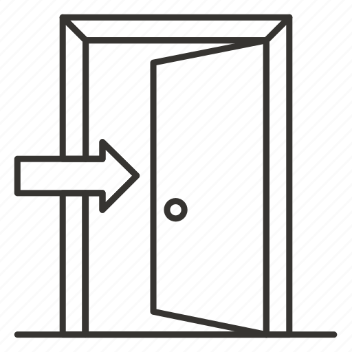 door, doorway, entrance, inside, open, sign icon