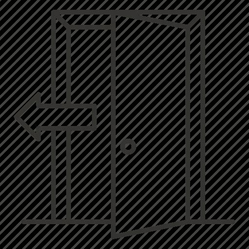 away, door, doorway, exit, open, outside, sign icon