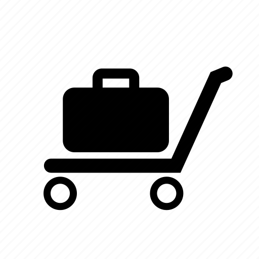 baggage, briefcase, carrier, luggage, luggage cart, pick up, trolley icon