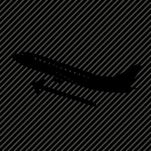 airplane, airport, ascending, departures, origin, plane, take off icon