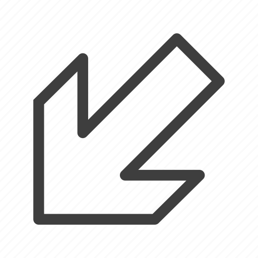 arrow, arrows, left, lower icon