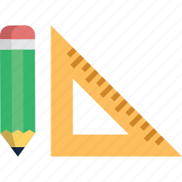 design, drawing, math, pen, pencil, ruler, triangular icon