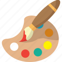 brush, colors, drawing, painting, palette, tool icon