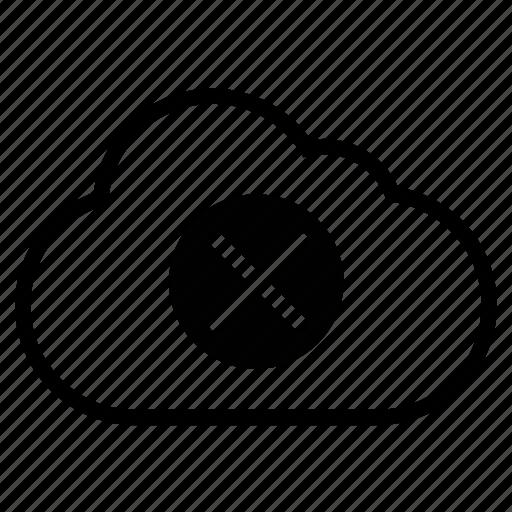 block, cancel, close, cloud, delete, line icon