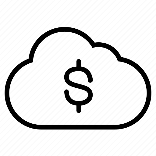 cloud, currency, dollar, finance, line, money, payment icon
