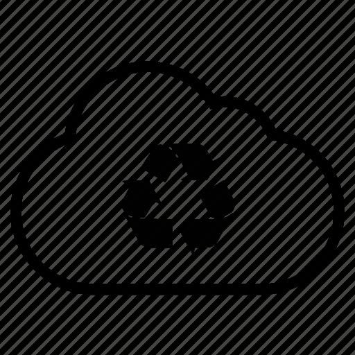 bin, cloud, empty, line, recycle, trash icon