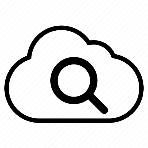 cloud, find, line, magnifying glass, search, view, zoom icon