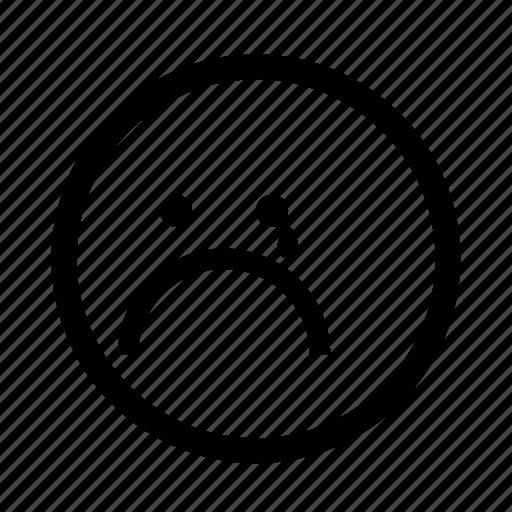 emoji, minimal, sad, simplified, smiley, tear icon