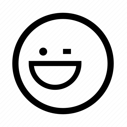 emoji, minimal, simplified, smiley, winking icon
