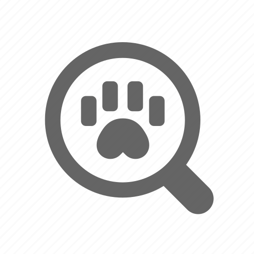claw, hunting, magnifier, paw, search, trace, track icon