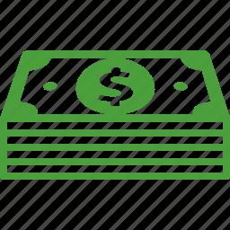 cash, dollar, earnings, money, profit, savings, stack icon