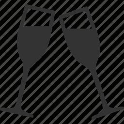 alcohol, celebrate, celebration, champagne, clink glasses, toast, toasting icon